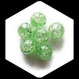 Perle en verre ronde givrée 12 mm vert transparent X 2 perles Réf : 372