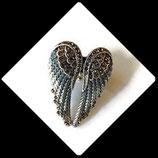 Bague  élastique argentée ailes d'ange bleu à strass  BAG071