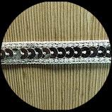 Galon ruban blanc sequins argent 1 cm X 1 m GAL028