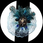 Bracelet rétro gothique chic dentelle bleue BRA020