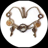 steampunk collier plastron  cadran montre véritable engrenages