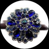 Grosse bague élastique 3D strass bleus deux nuances métal argenté BAG136