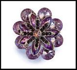 Grosse bague élastique fleur violette 3D strass métal argenté BAG093