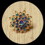 Bague réglable fleur dorée strass camaïeu bleu et turquoise BAG026