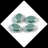 Palet ovale nacré 12 x 9 mm chrysolite X 4 perles palets Réf : 703