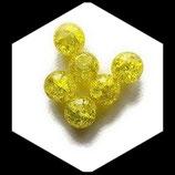 Perle en verre ronde givrée 12 mm jaune X 2 perles Réf : 370
