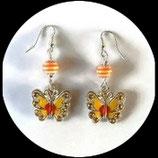 Boucles oreilles papillon émail jaune, orange, strass