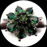 Grosse bague élastique fleur 3D strass verts métal argenté BAG138
