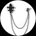 Clip chaîne fleur de lys strass  noirs métal gris pour veste, col CLI012