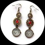 Boubles oreilles steampunk montre et engrenages - bijou fait main - steampunk