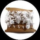 Galon chaîne perles et fleurs blanches, lot de 5 métres GAL058