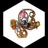 bracelet en fil aluminium or dore argent et perles spirale fait main