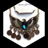 Collier plastron aigle métal doré strass turquoise COL010