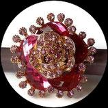 Grosse bague élastique 3D strass camaïeu de rose métal doré BAG113