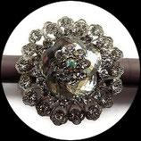 Grosse bague élastique 3D strass naturels métal argenté BAG123