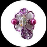 broche fil aluminum rose et perles de verre