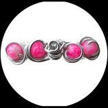 barrette enfant fil aluminium perles roses
