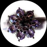 Grosse bague élastique fleur 3D strass mauves et violets métal argenté BAG145
