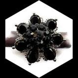 Grosse bague élastique fleur 3D strass noirs métal argenté BAG127