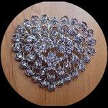 Broche strass coeur, support métal argenté BRO022