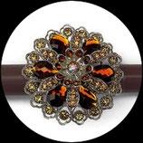 Grosse bague élastique 3D strass ambre deux nuances métal argenté BAG117