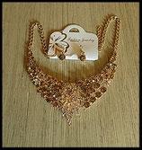 Parure dorée collier fleur et boucles d'oreilles strass doré et argent PAR002