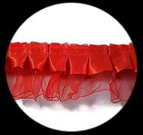 Volant satin rouge et organza 5 cm DEN115