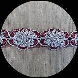 Galon tulle rouge brodé argent et sequins rouges 4 cm GAL016