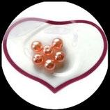 lot de 6 perles limpides nacrées saumon 10 mm création bijoux Réf : 1528