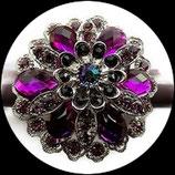 Grosse bague élastique 3D strass rose fuchsia métal argenté BAG126