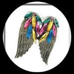 Bague bronze anneau réglable ailes d'ange strass multicolores BAG052
