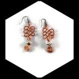 Boucles oreilles fil aluminium cuivre  perle ciselée