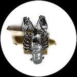 Bague fantaisie réglable vintage véritable scorpion métal argenté BAG176