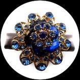 Grosse bague élastique 3D strass bleus métal doré BAG132