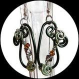 Boucles oreilles artisanales aluminium, perles