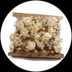 Galon chaîne perles et fleurs beige, lot de 5 métres GAL060