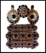 Parure bijoux fantaisie 3 pièces strass bleu royal, métal doré PAR043