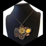 collier steampunk voyage à paris montre tour Eiffel miroir engrenage, bijou artisanal