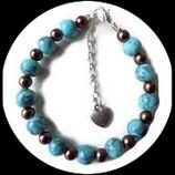 Bracelet perles marbrées turquoise et perles bronze