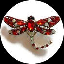 Broche libellule strass rouges et irisés, broche bijou fantaisie strass  BRO089