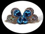 barrette pince à cheveux papillon turquoise strass BAR006