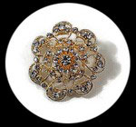 broche fantaisie épingle métal doré strass BRO114