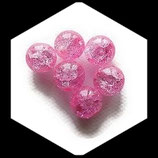Perle en verre ronde givrée 12 mm rose X 2 perles Réf : 366