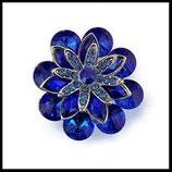 Grosse bague élastique fleur bleu royal 3D strass métal argenté BAG096