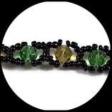 Bracelet fantaisie perles et rocailles - Bracelet vert, jaune noir fait main.