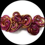 barrette aluminium dorée et rose - accessoire de coiffure fait main