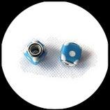 Perle imitation pandora ® lampwork 11 x 11 mm cube bleu clair à pois blancs Réf : 162