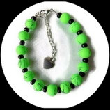 Bracelet perles vertes fluo, rocaille noire