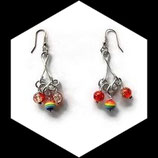 Boucles oreilles multicolores fil aluminium argent, perle spirale.