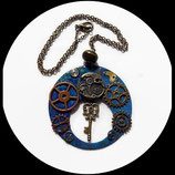 collier pendentif steampunk émail double face bijou artisanal